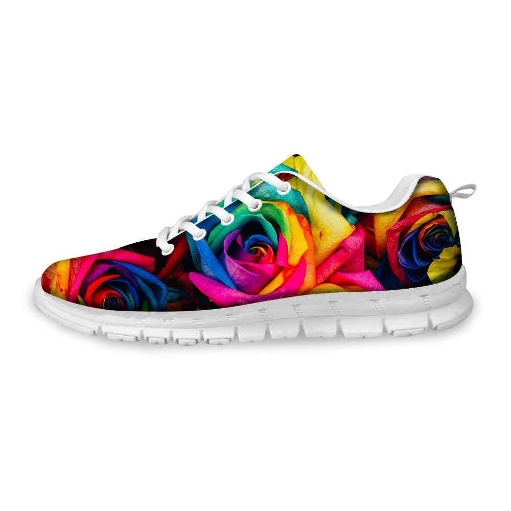FOR U DESIGNS Stylish Floral Print Women's Light Weight Fashion Sneaker Mesh Flex Trail Running Shoes US 7