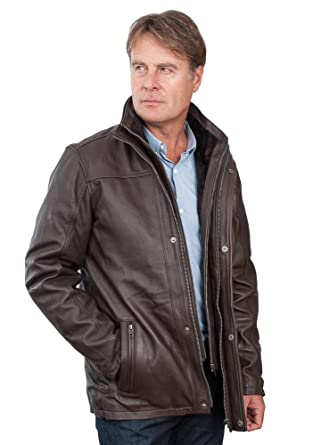 Men's Mid Length Classic Warm Brown Leather Jacket at Amazon Men's ...