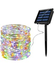 Ankway Solar String Lights (Upgraded), 72ft 200LED Outdoor String Lights, Waterproof Decorative String Lights for Outdoor Patio Garden Gate Yard Christmas Party Wedding (Warm White and Colored)