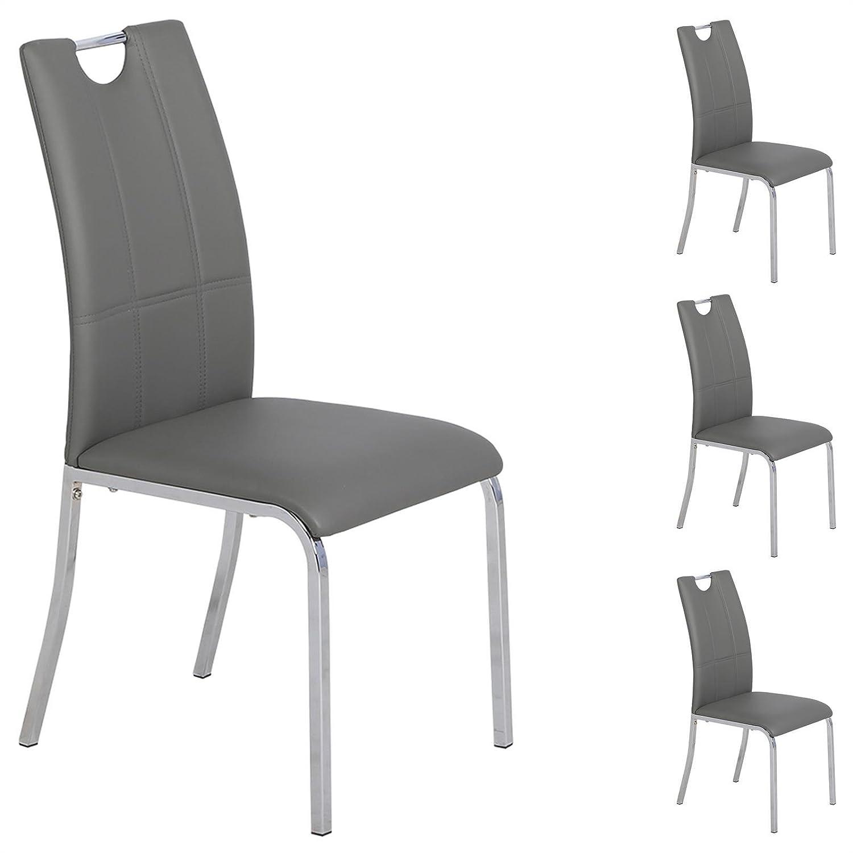 IDIMEX 4er Set Esszimmerstuhl Küchenstuhl Essstuhl Essgruppe Sitzgruppe Loreto, 4 Stühle grau