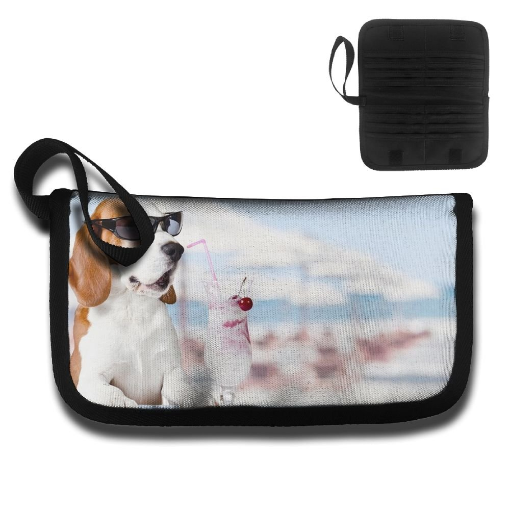 Cute Dog In Sunglasses Drink Cocktail Travel Wallet Passports Holder Document Organizer Card Package