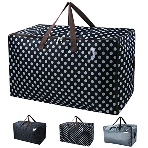iwill CREATE PRO Large Storage Bags for Seasonal Clothes,Comforters in Closet,Festival Ornament Storage Container,Black Dot by iwill CREATE PRO (Image #3)