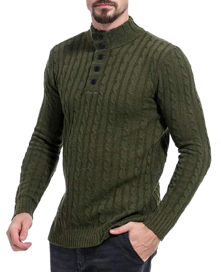 XQS Mens High Neck Slim Button Long Sleeve Pullover Knitted Sweater