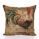Easternproject Rooster Painting Farmhouse Decorative Throw Pillowcase Country Burlap Pillow Cover Cushion Case
