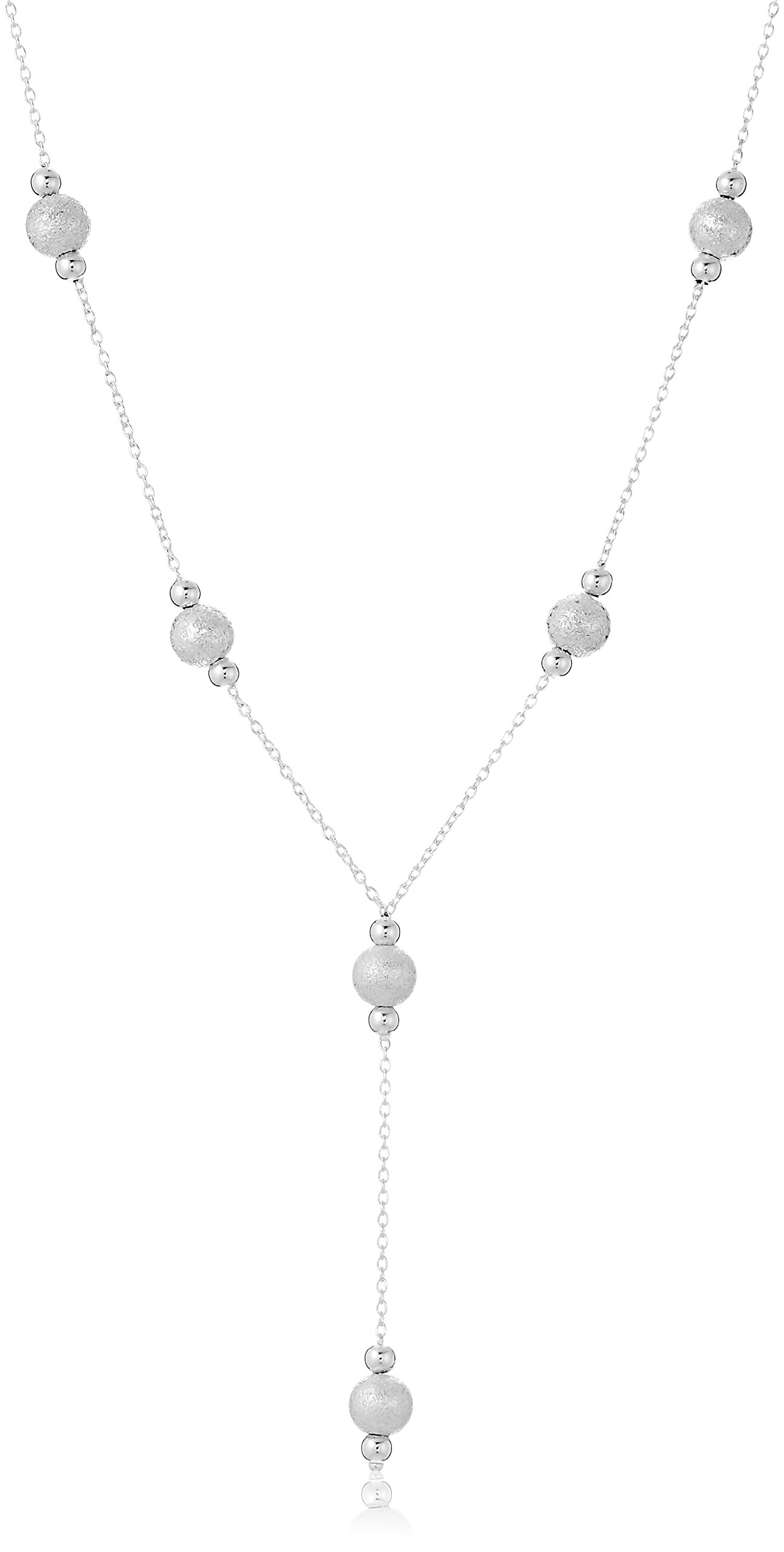 Sterling Silver Hammered Bead Station''Y'' Necklace. 18''
