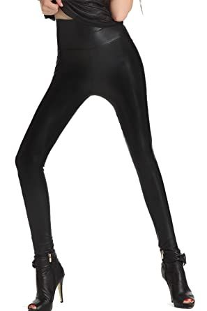 Nihoe Women's Faux Leather Leggings Flocking Keeping Warm Pants at ...