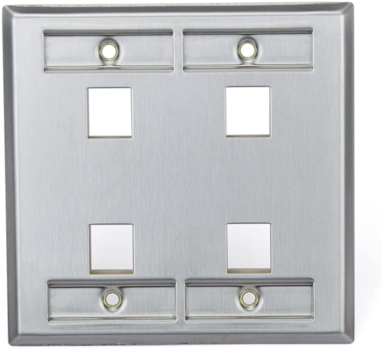 Dual Gang Stainless Steel Leviton 43080-2L4 QuickPort Wallplate 4-Port with Designation Window