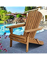 Folding Adirondack Chair Garden Wooden Chair Garden Chair Lawn Chair Outdoor Chair Terrace Seat Garden Furniture Natural Finish, Suitable for Terrace, Balcony, Garden, Backyard, Deck, Lawn