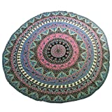 Auwer Gorgeous Round Bohemian Pattern Chiffon Beach Throw Tapestry Wall Art Hanging Pool Home Shower Towel Blanket Mandala Table Cloth Tablecover Roundie Yoga Mat Picnic Mat Bedspread Collage Dorm (B) offers