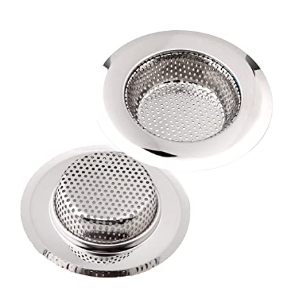 Gosear - 2 Piezas Filtro Fregadero, Colador para Acero Inoxidable Fregadero de Cocina, Colador de Desagüe Fregadero Baño Ducha 11.3 cm de diámetro