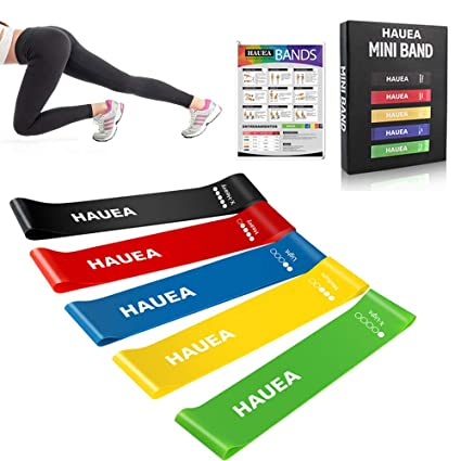 HAUEA Fitness Exercise Bands Elastic Resistance Loop Bands Mini Set of 5 Fitness Crossfit Band for Workout Physical Therapy Stretching Yoga Pilate ...