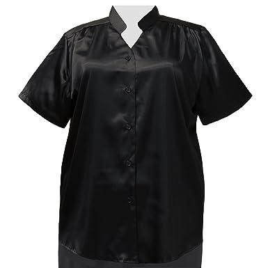 4c5d9b78e686e A Personal Touch Women s Plus Size Black Crepe Back Satin Mandarin Collar V-Neck  Blouse