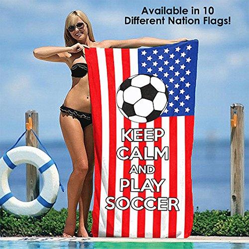 GG Promo Keep Calm and Play Soccer - Soccer Fanatics' Beach Towel 30'' x 60'' (Spain) by GG Promo