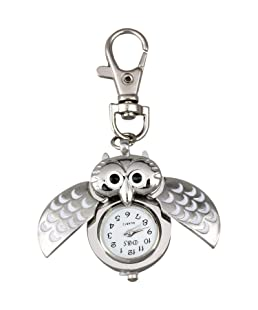 AKORD Metal Owl Pocket Pendant Watch Key Chain Keyring