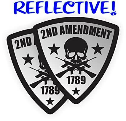 ae0f950cb7d Pair - REFLECTIVE 2nd Amendment Hard Hat Stickers