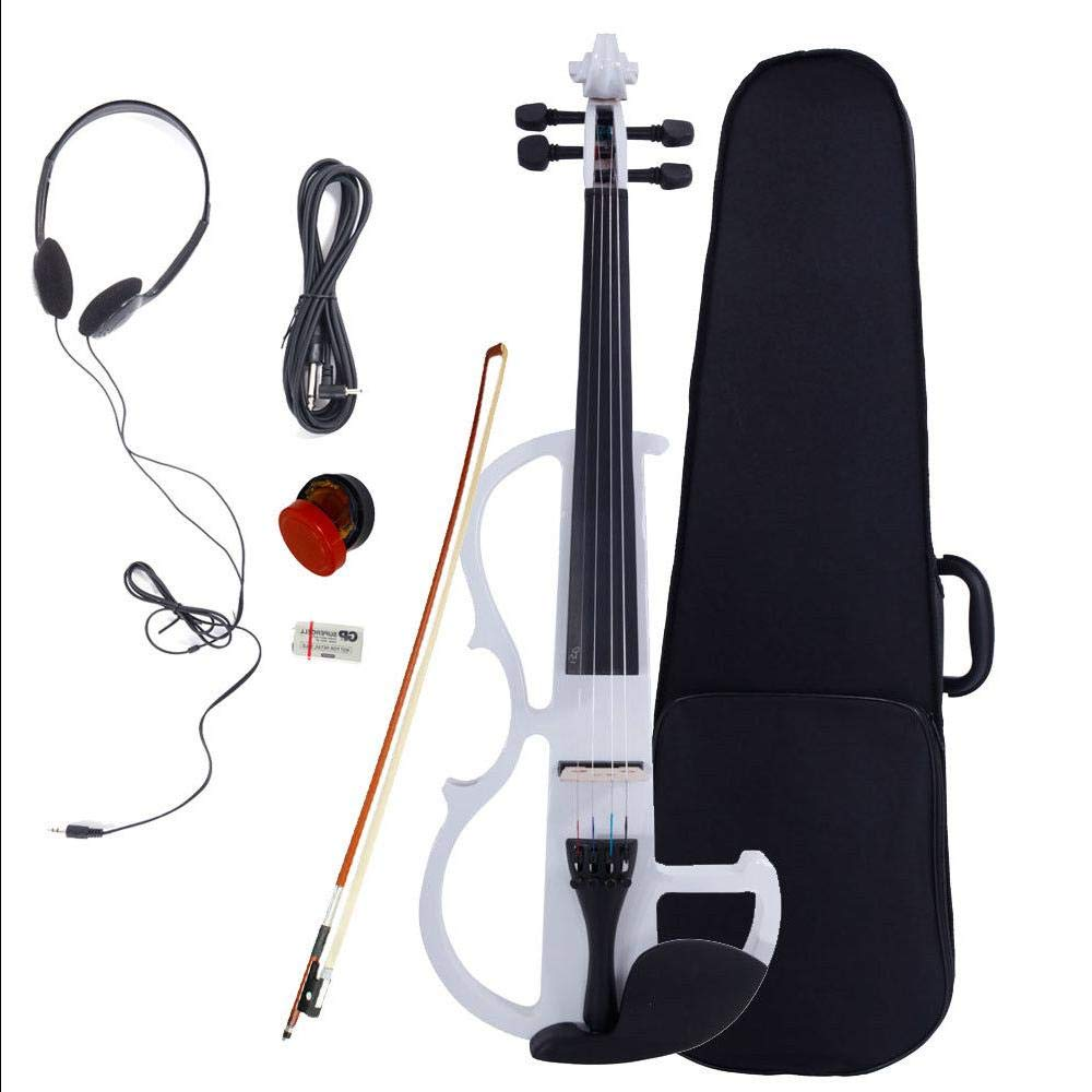 White Maple Basswood & Metal 8 Pattern Electroacoustic Violin w Case Bow & Rosin