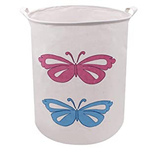 Laundry Storage Basket Hamper 19.7 x15.7 Inch Large Sized Canvas Storage Bucket with Handle, Munzong Collapsible&Convenient Home Organizer Round Containers for Toys, Laundry, Baby Nursery (Butterfly)