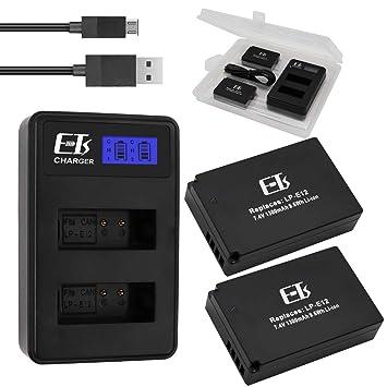 Amazon.com: E-TS - Cargador de batería para Canon LP-E12 ...