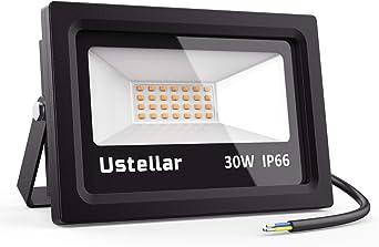 Ustellar 30W Foco LED, Proyector LED Iluminación Exterior 2100lm ...