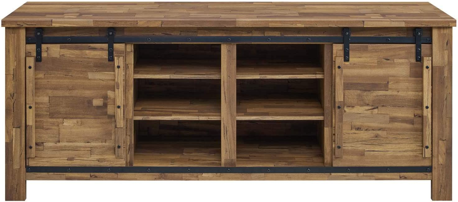 "Modway Cheshire 70"" TV Stand Rustic Sliding Door Dining Room Cabinet Storage Buffet Table Sideboard"