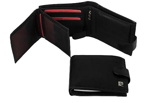 Cartera hombre PIERRE CARDIN negro in cuero con solapa laterale A4911: Amazon.es: Zapatos y complementos
