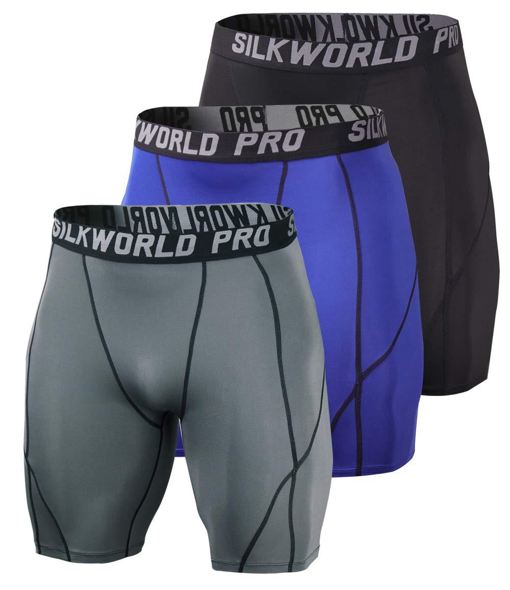 SILKWORLD Men's 3 Pack Running Tight Compression Shorts, Black, Grey, Navy Blue, XXL by SILKWORLD