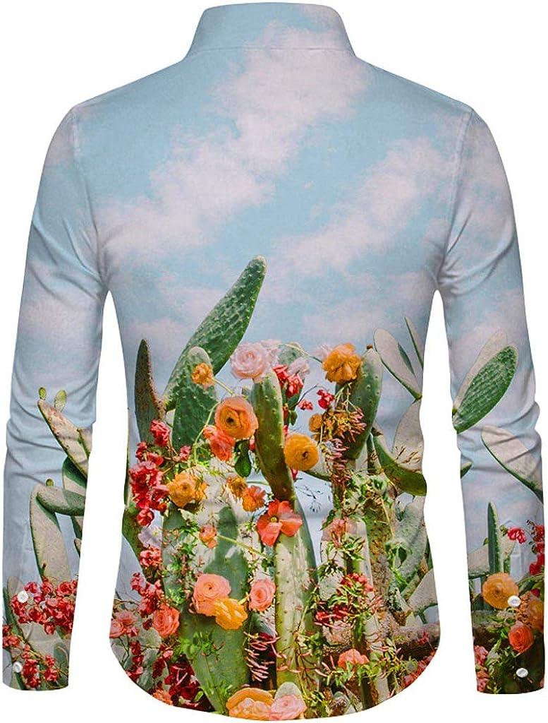 Hombres Camisa con Estampado de Flores de Cactus Realista Camisa con Botones de Manga Larga Camisa Deportiva Blusa Informal (S, Blanco): Amazon.es: Ropa y accesorios