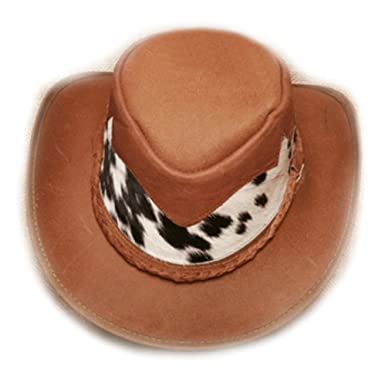 842287076676a Amazon.com  Croc Dundee Leather Cowboy Hat With Real Cowhide Accents  Australian Design From Down Under (Small 6 1 12 - 6 3 4)  Clothing