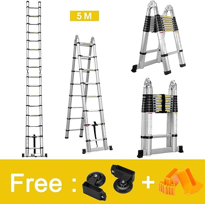 Finether-5M Escaleras Plegable y Telescópica (Portátil,Multi-Propósito,Extensible,Aluminio,con Bisagras,Certificada por EN131,Capacidad de 150kg,Perfecta para Casa,Desván y Oficina): Amazon.es: Bricolaje y herramientas