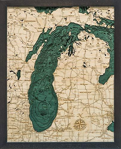 Lake Michigan 3-D Nautical Wood Chart, 16