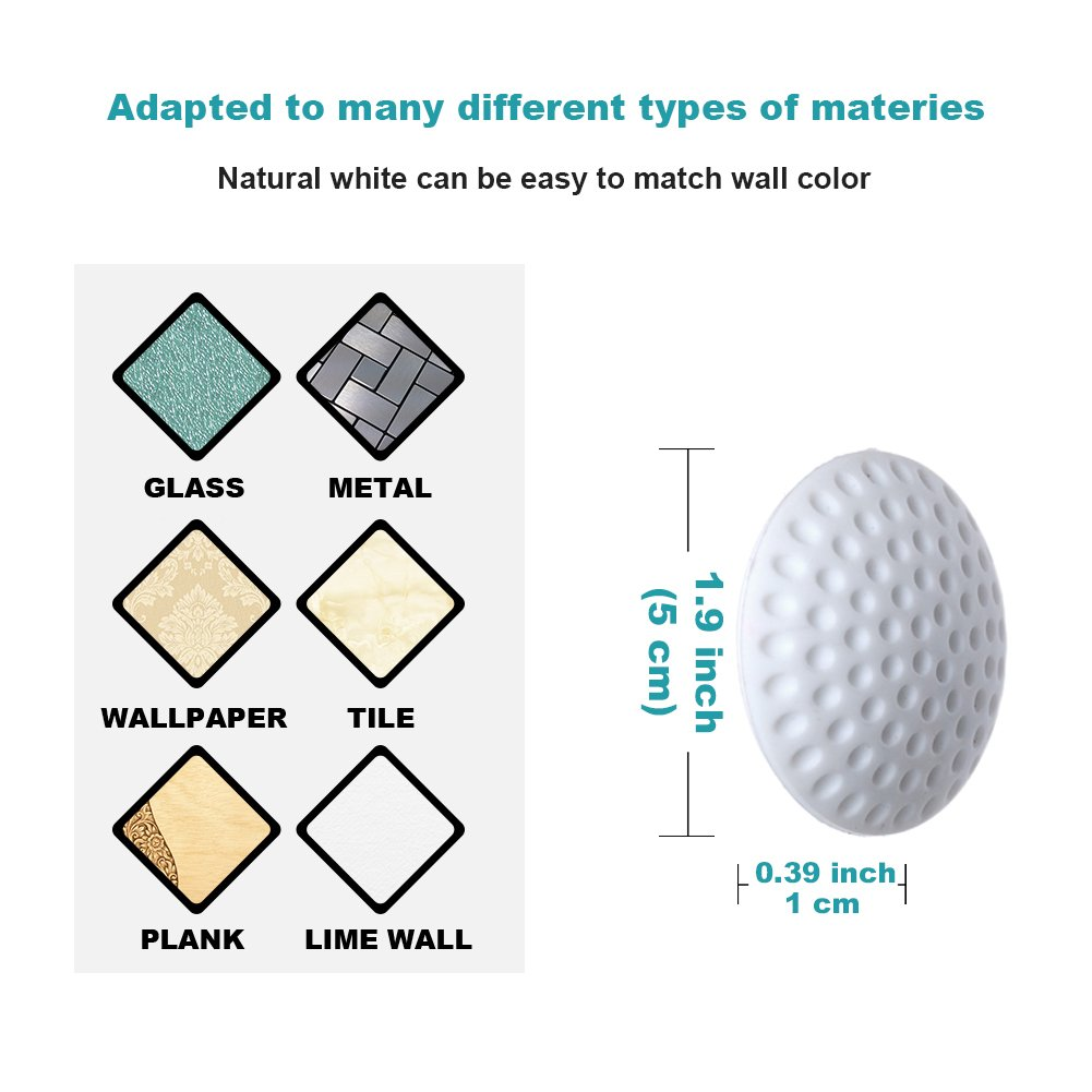 EuTengHao 10 Pcs Silicone Wall Protectors Noise Dampening Bumpers Doorknob Protectors Self-Adhesive Bumper Guard Rubber Stop for Washroom Kitchen Office 1.9 inch