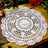 Shuohu Vintage Hollow Flower Placemat Hand Crocheted Lace Doilies Round Table Coaster