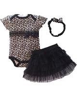 PanDaDa Newborn Baby Girls Romper Tutu Skirt Polka Dot Headband Outfit Sets