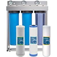 """Express Water Whole House Water Filter – 3 Stage Home Water Filtration System – Sediment, Coconut Shell Carbon Filters – includes Pressure Gauges, Easy Release, and 1"""" Inch Connections"""