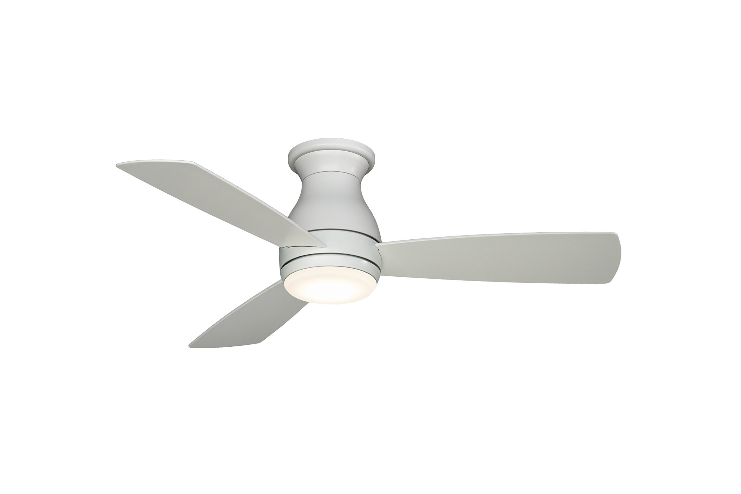 Fanimation Hugh - 44 inch - Matte White with Matte White Blades with LED Light Kit and Wall Control - Wet Rated - FPS8332MWW