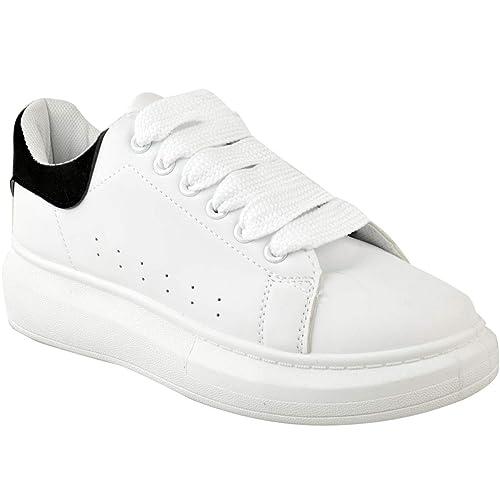 Heelberry Mujer en Blanco Alex Grande Grueso Zapatillas Suela de Goma Zapatillas Nuevos Zapatos Talla: Amazon.es: Zapatos y complementos