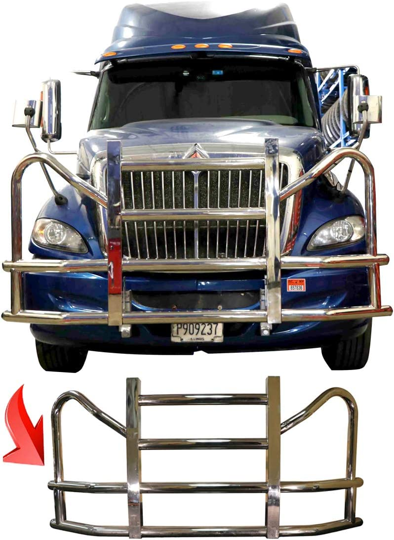 Freightliner Cascadia 2008-16 BLACK Grille Deer Brush Guard with built in 16 LED Bar Mounting Brackets License plate holder and frame Freightliner Logo and Windshield wipers