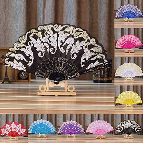 Elevin(TM)  Chinese Style Dance Wedding Party Lace Silk Folding Hand Held Flower Fan -