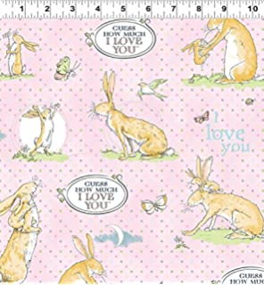GUESS How Much I LOVE You Fabric Fat Quarter Cotton Craft Quilting Brown Hare