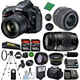 Nikon D610 DX-Format CMOS DSLR Digital Camera Body, NIKKOR 18-55mm f/3.5-5.6 AF-S DX VR, Tamron 70-300mm DI LD Zoom, 2pcs 16GB ZeeTech Memory, Case, Wide Angle, Telephoto, Flash