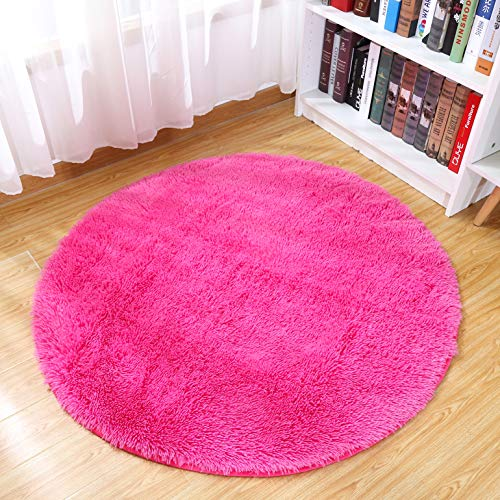 Junovo Round Fluffy Soft Area Rugs for Kids Room Children Room Girls Room Nursery,4 Feet,4-Feet,Rose-red