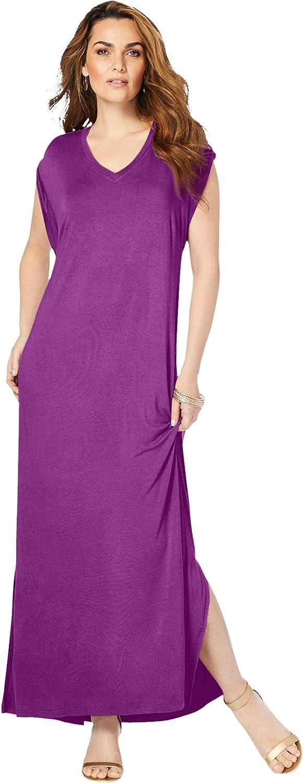 Roamans Women's Plus Size Side-Slit T-Shirt Dress Maxi Length