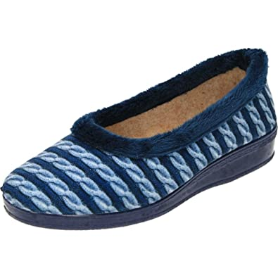 7db0ffdf823c jwf Warm Trim Slippers Wedge Raised Heel Cosy House Shoes Rubber Sole Blue  4 UK