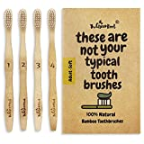Bamboo Toothbrush W/ 15 Degree Angle & Soft BPA Free Nylon Bristles - 100% Organic and Biodegradable Wooden Toothbrush For Adults - Pack Of 4 Best Toothbrushes For Sensitive Gums