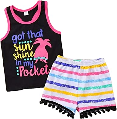 Solid Color Shorts Pant Outfit Set Girl Summer Outfits Kids Big Girl Cotton Cartoon Sleeveless Vest T-Shirt Tops