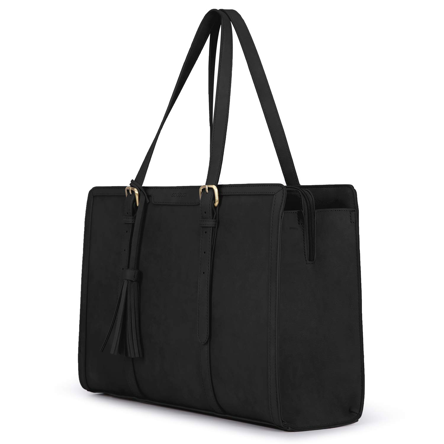 ECOSUSI Laptop Tote Bag for Women Fits Up to 15.6 Inch PU Leather Briefcase Office Handbags Large Capacity with 3 Divided Compartments by ECOSUSI