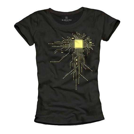 MAKAYA Camisetas frikis para mujer - Gamer CPU - Negra S