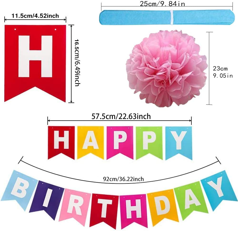 IHUIXINHE Birthday Decorations Happy Birthday Party Bunting Banner Bow Rainbow Paper Garland 12 Colors 10 Inches Birthday Paper Pom Poms Balloon Rainbow Paper Garland (15 Pack)