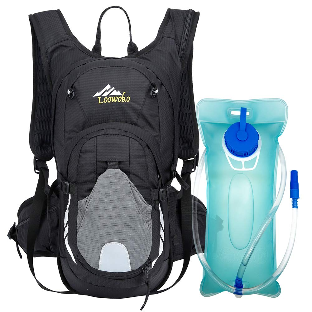 Loowoko 20L Hydration Riding Backpack with 2L Water Bladder, Multiple Pockets Includes Helmet mesh Belt Perfect for Cycling Running Camping Hiking (Black)