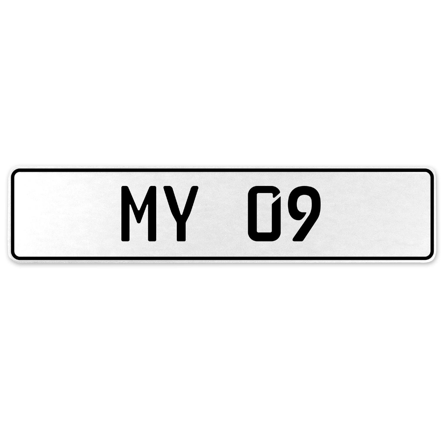 Vintage Parts 555101 My 09 White Stamped Aluminum European License Plate